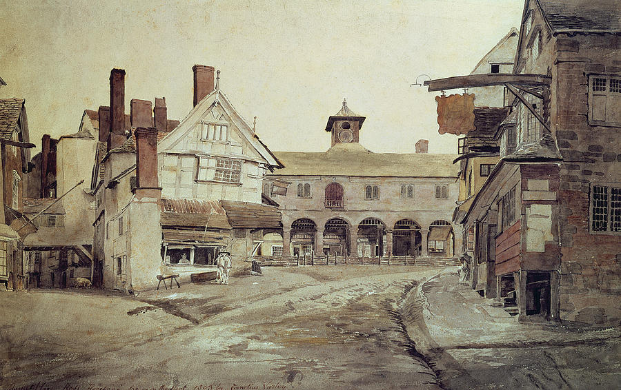 Market Painting - Hereford by Cornelius Varley