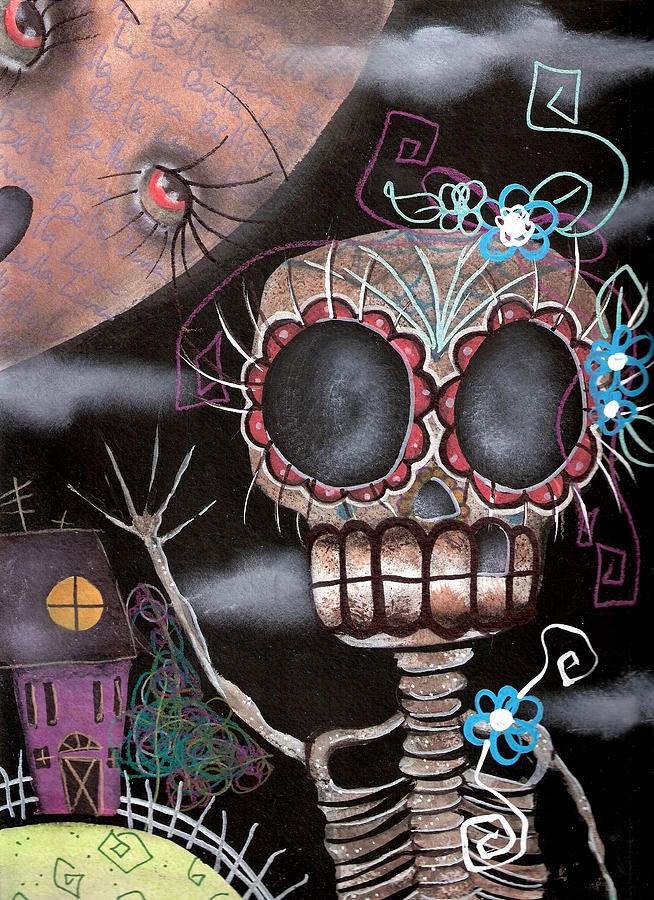 Day Of The Dead Painting - HI  by  Abril Andrade Griffith