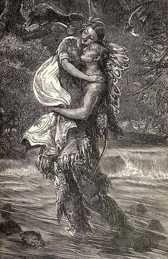 Hiawatha And Minnehaha Drawing - Hiawatha And Minnehaha by Unknown