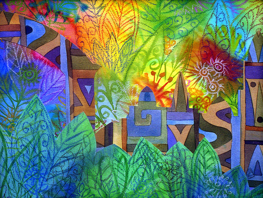 Jungle Mysterious Tropical Lost City Caribbean Bright Colours Painting - Hidden City by Jennifer Baird