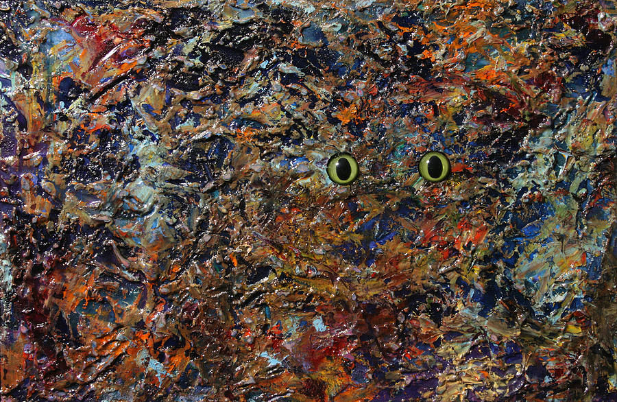 Cat Painting - Hiding by James W Johnson