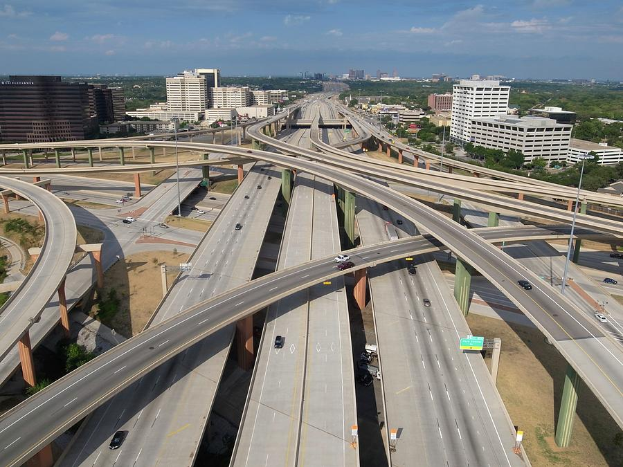 Horizontal Photograph - High Five Interchange, Dallas, Texas by Jeff Attaway