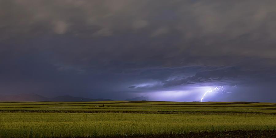 High Plains Lightning Strike Panorama Photograph