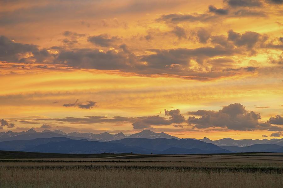 High Plains Meet The Rocky Mountains At Sunset Photograph