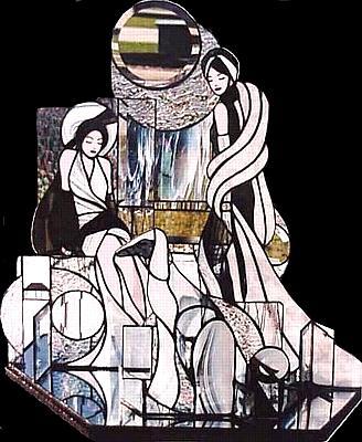 2 Women And Dog Glass Art - High Society by Karen Ichino