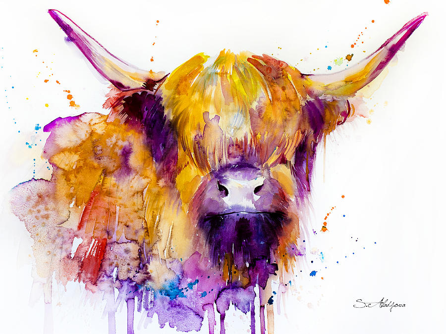 Highland Cow Watercolor Painting Print Painting - Highland Cow by ...