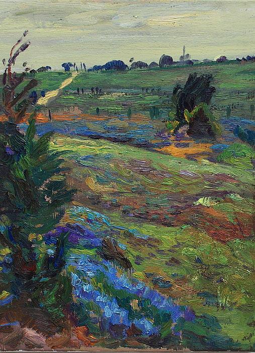 Blue Bonnets Painting - Hills Of Joy by Maris Salmins