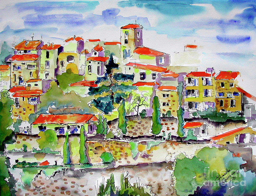 Hillside Village In Provence Painting