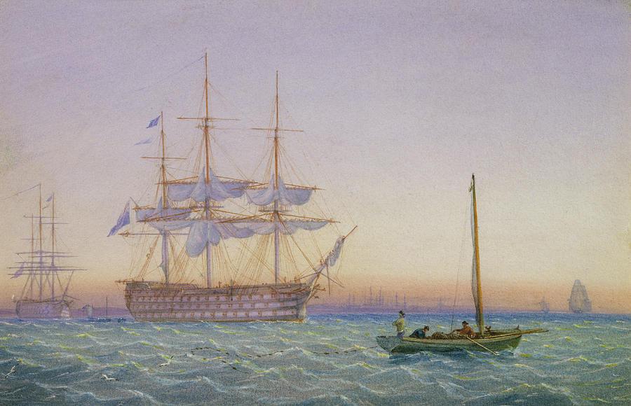 Hm Frigates At Anchor Painting
