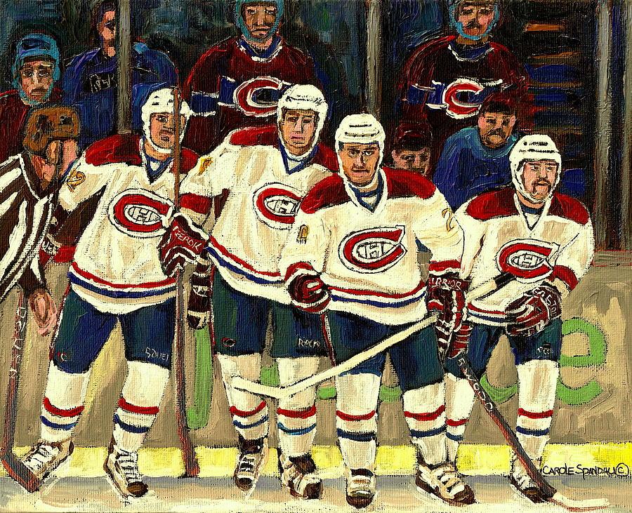 Hockey Art The Habs Fab Four Painting - Hockey Art The Habs Fab Four by Carole Spandau