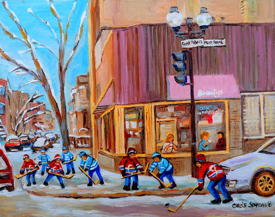 Beautys Luncheonette. Painting - Hockey At Beautys Deli by Carole Spandau