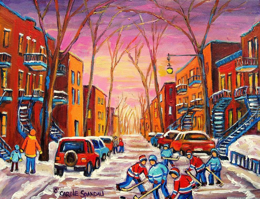Hockey On Hotel De Ville Street Painting