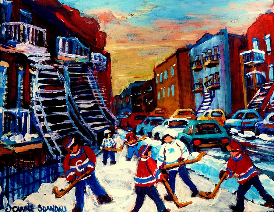 Montreal Painting - Hockey Paintings Of Montreal St Urbain Street City Scenes by Carole Spandau