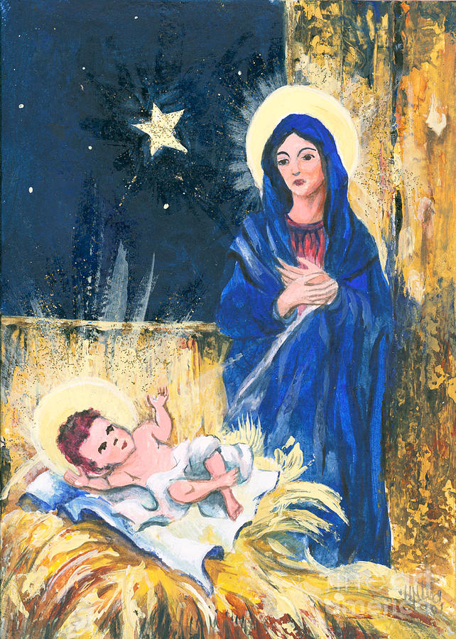 Christmas Greeting Cards Painting - Holy Christmas No. 2 by Elisabeta Hermann