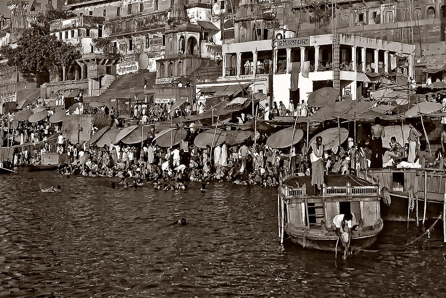 Varanasi Photograph - Holy Ganges Monochrome by Steve Harrington