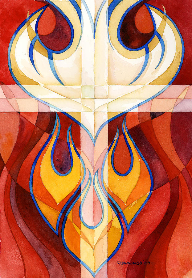 Flames  Painting - Holy Spirit by Mark Jennings