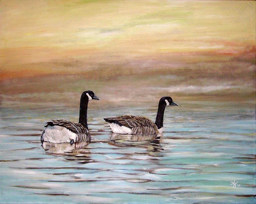 Canadian Geese Water Sky Painting - Home by Arie Van der Wijst