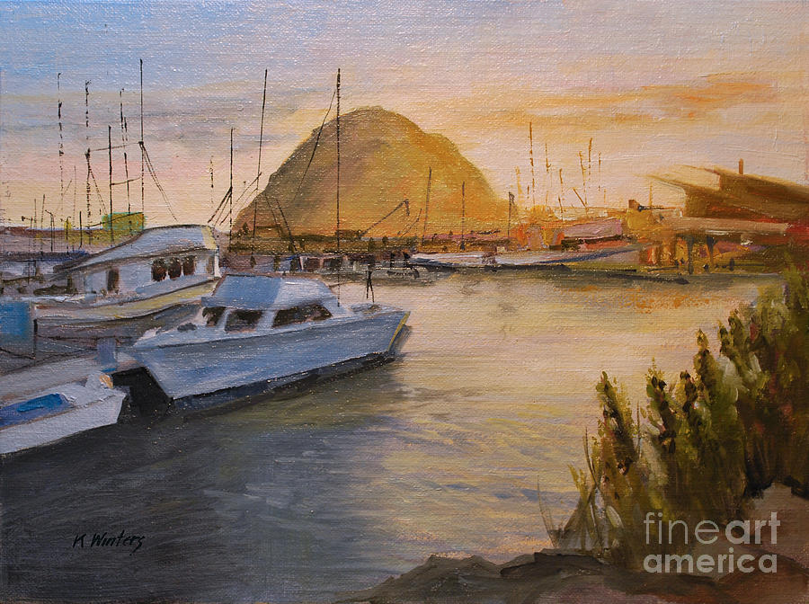Home for the day morro bay sunset oil painting painting for Morro bay fishing
