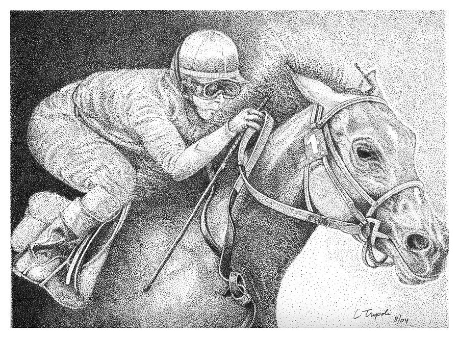Horse Drawing - Home Stretch by Lawrence Tripoli
