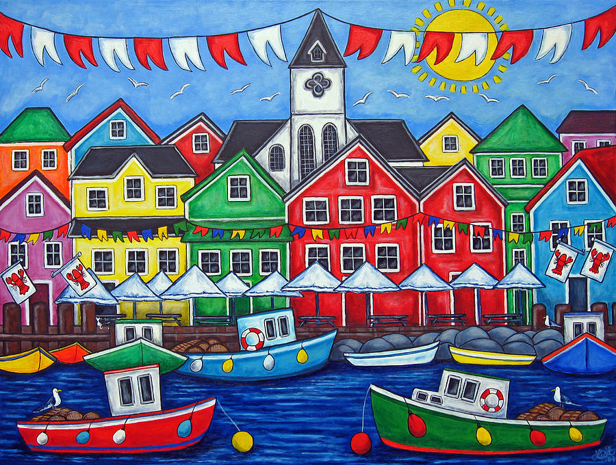 Boats Canada Colorful Docks Festival Fishing Flags Green Harbor Harbour Painting - Hometown Festival by Lisa  Lorenz