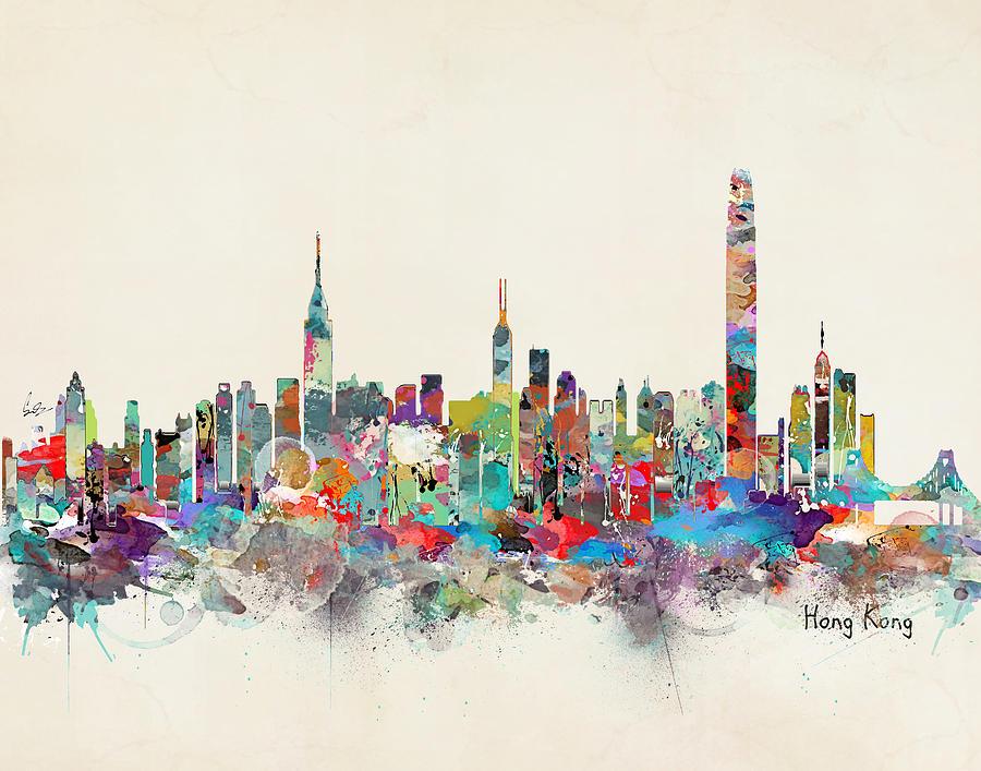 Who S hong kong skyline painting by bri b