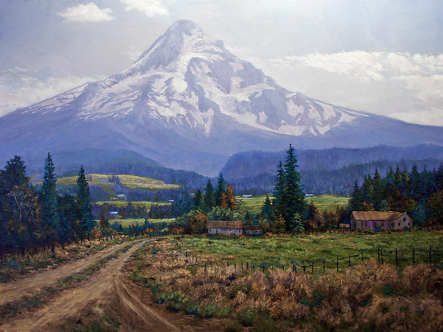 Mt Hood Oregon From Hood River Valley Painting - Hood River Valley by Donald Neff