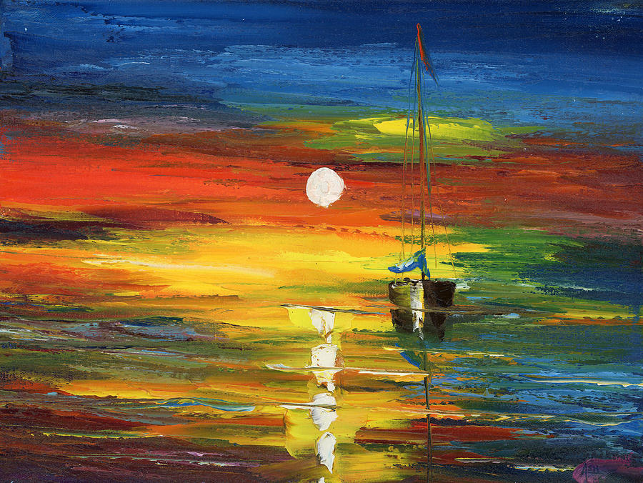 Oil Painting Art Artwork Acrylic Impressionist Impressionism Palette Knife Texture Giclee Print Reproduction Color Colour Colorful Bright  Morning Evening Sail Sailing Two Boats Warm Passion Water Aqua Marina Nautical Love Relaxation Passion Racing  Searching Nature Fish Fishing Surviving Violet Blue Yellow Green Pintura Impressionista Pescar Botes Agua Azula Amarilla Verde Passion Amor Navegacion Vela Buscando Paz Sobrevivir Color Colour Colourful Painting - Horizon Sail by Ash Hussein