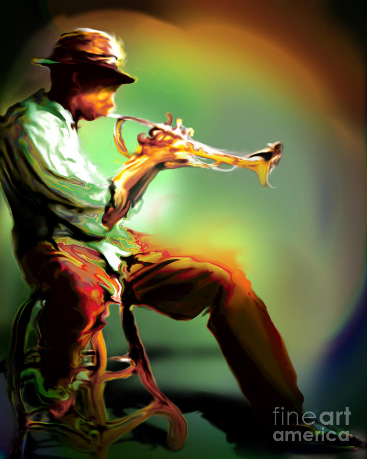Jazz Art Painting - Horn Player II by Mike Massengale