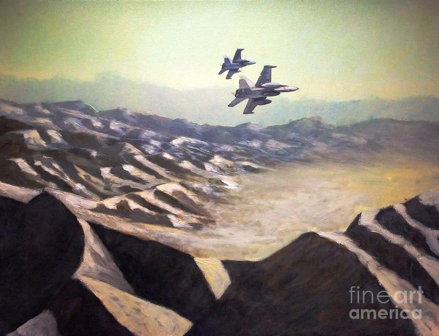 Usmc Painting - Hornets Over Afghanistan by Stephen Roberson