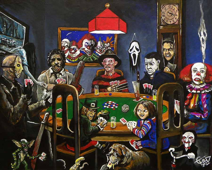 Horror card game painting by tom carlton for Painting games com
