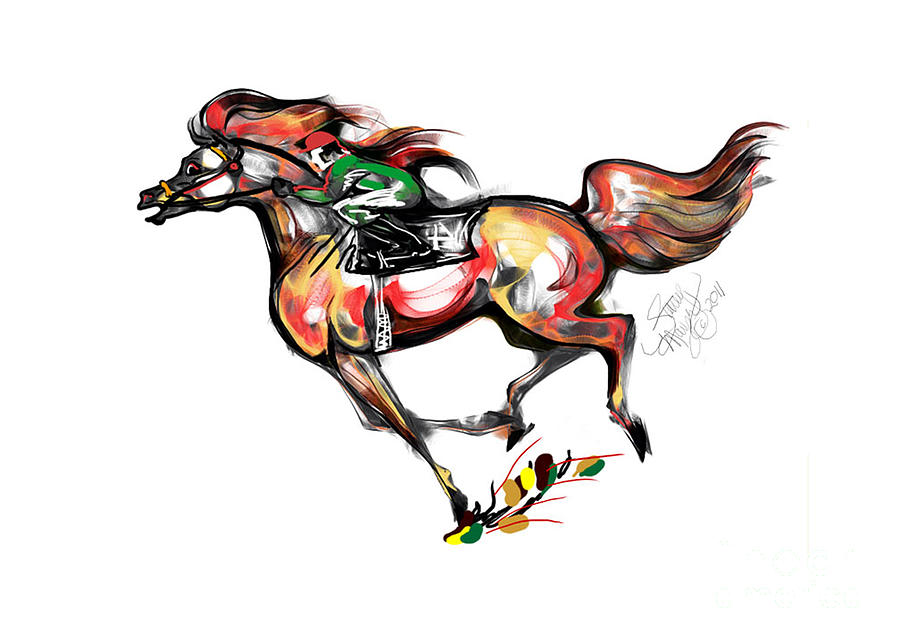 Stacey Mayer Mixed Media - Horse Racing In Fast Colors by Stacey Mayer