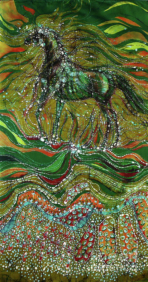 Horse Tapestry - Textile - Horse Rises From The Earth by Carol Law Conklin