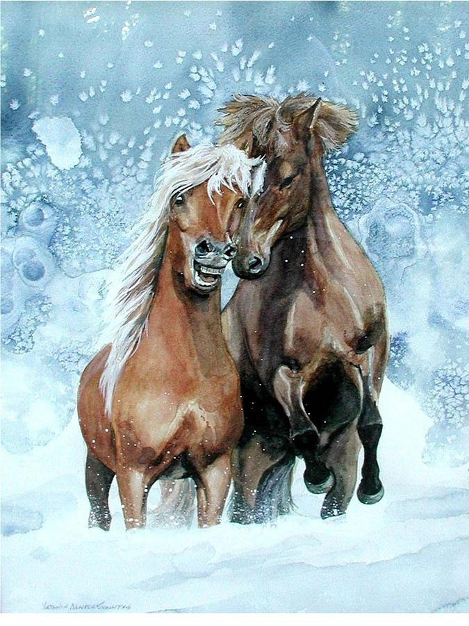 Water Color Paintings Painting - Horses In Winter by Virginia Sonntag