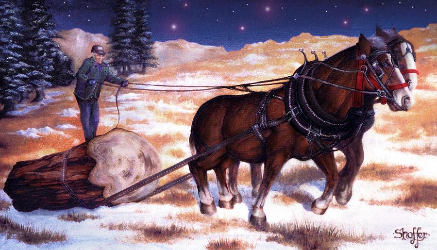 Horses Pulling Log Painting