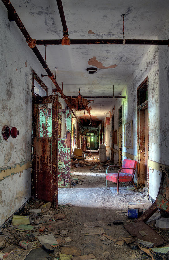 Asylum Photograph - Hospital Hallway by Murray Bloom