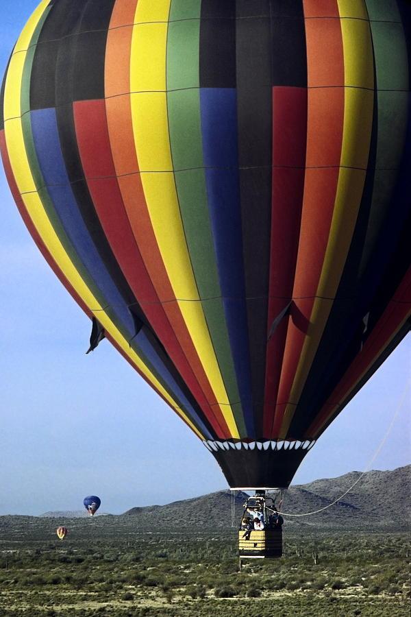 Hot Air Baloon Over Desert Close-up Photograph - Hot Air Balloon  by Sally Weigand