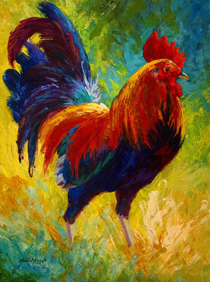 Rooster Painting - Hot Shot - Rooster by Marion Rose