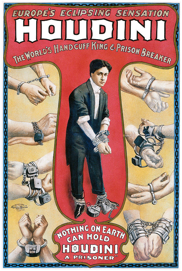 Houdini Painting - Houdini The Worlds Handcuff King by Unknown