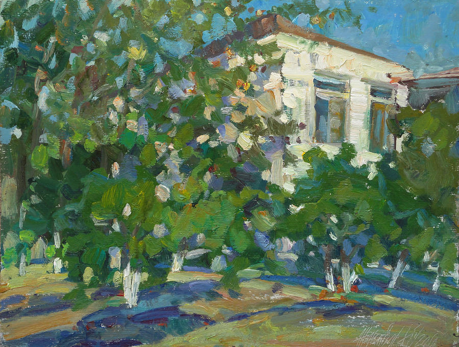 Landscape Oil Painting - House Of Artist by Juliya Zhukova