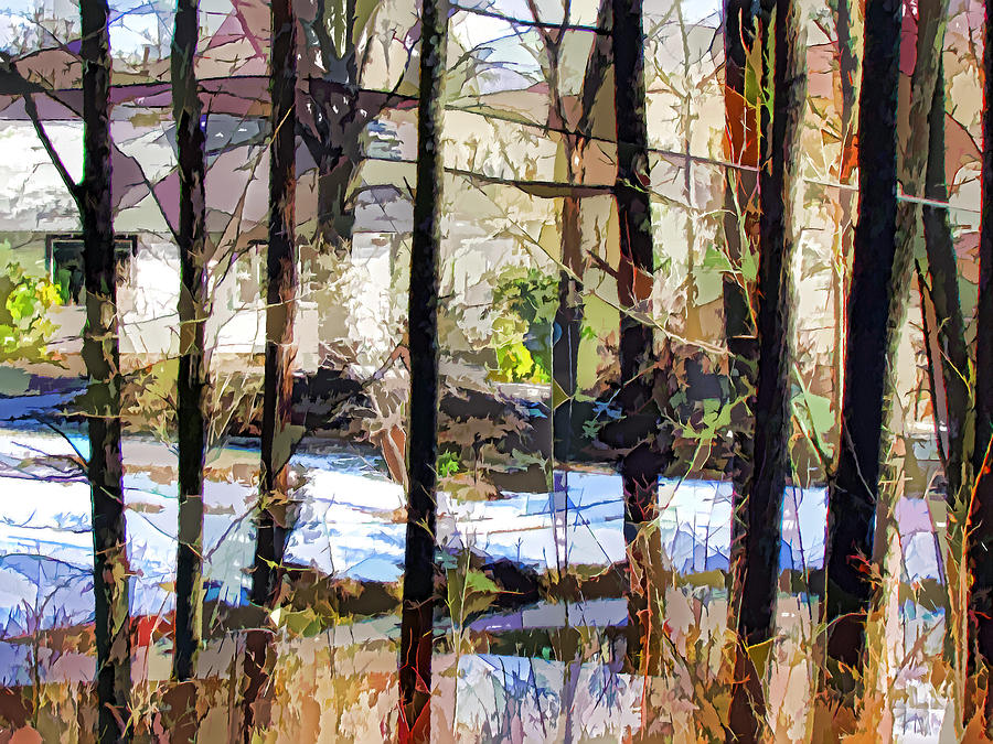 House Surrounded By Trees Painting - House Surrounded By Trees 2 by Lanjee Chee