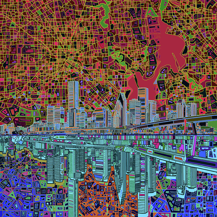 Houston Skyline Abstract 3 Painting