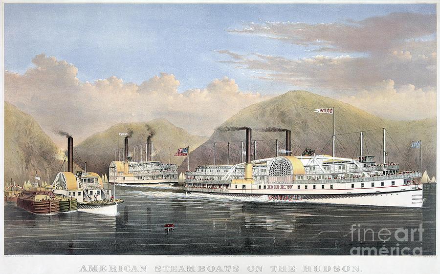 1874 Photograph - Hudson River Steamships by Granger