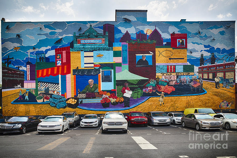huge wall mural in pittsburgh photograph by george oze