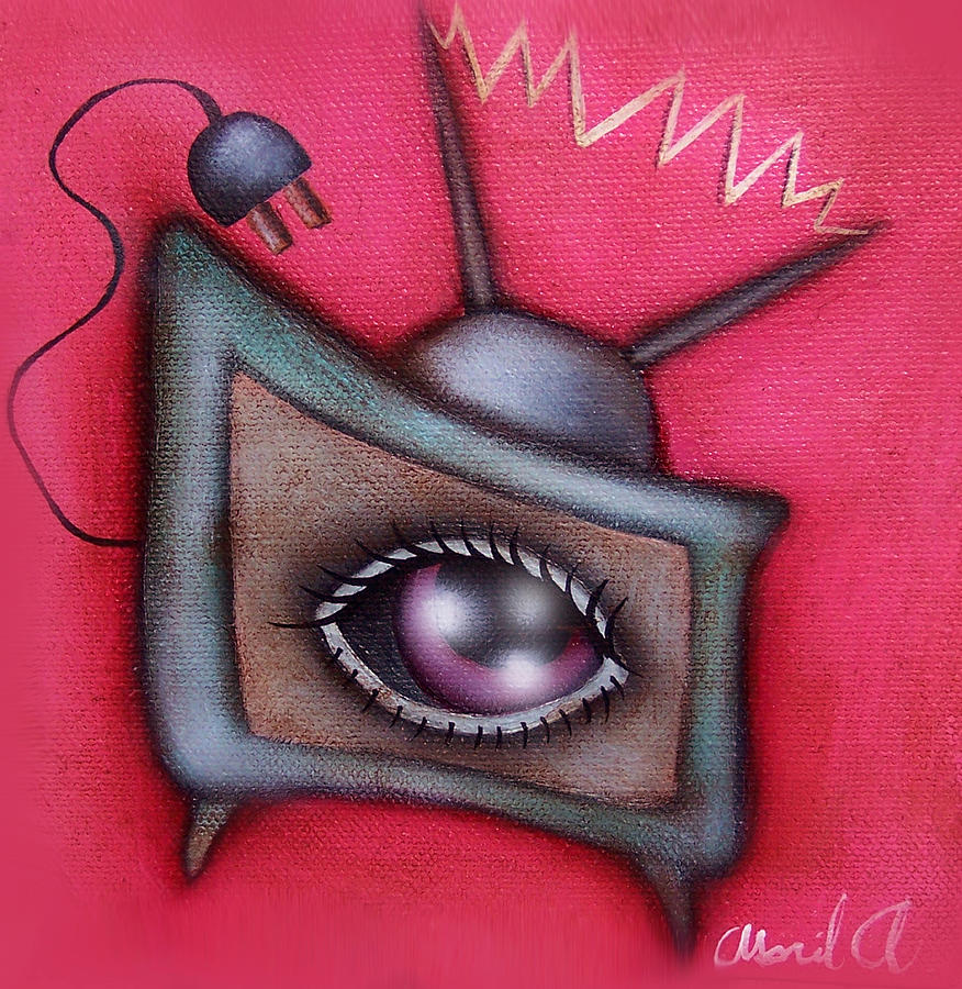 Surreal Television Painting - Human Tv by  Abril Andrade Griffith
