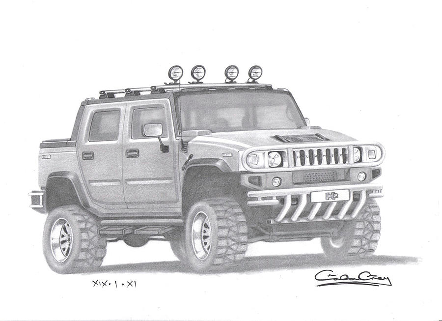 Hummer H2 Drawing By Gordon Grey