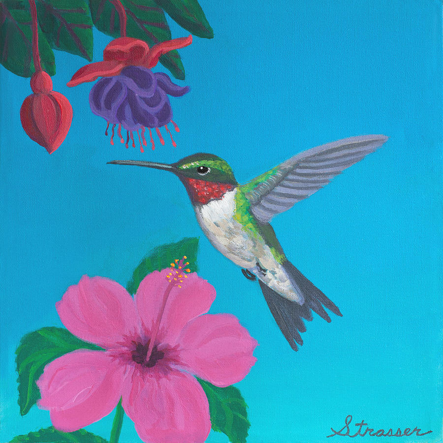 Nature Painting - Hummingbird Heaven by Frank Strasser