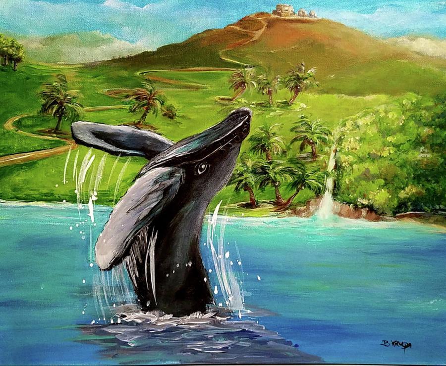 Humpback Whale Painting - Humpback Whale Breaching At Haleakala Hawaii by Bernadette Krupa