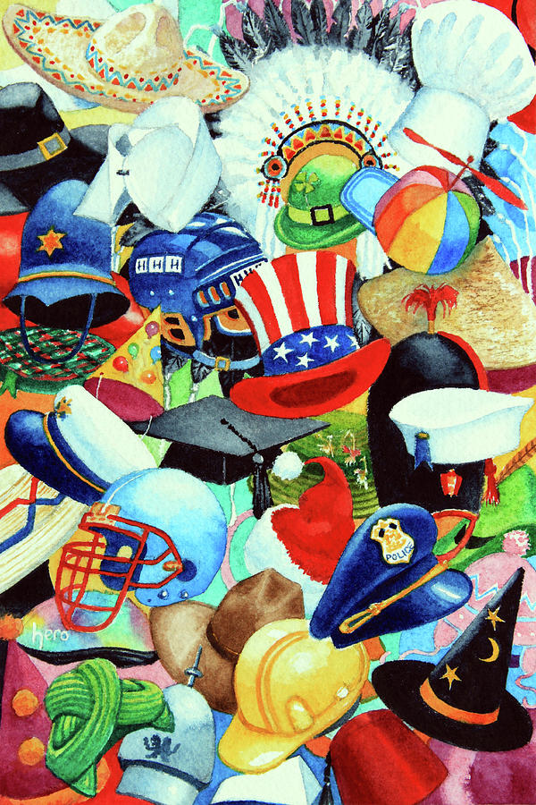 Hundreds Of Hats Art Print Painting - Hundreds Of Hats by Hanne Lore Koehler