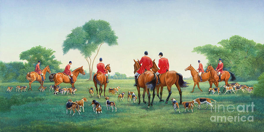 Hunters And Hounds Painting