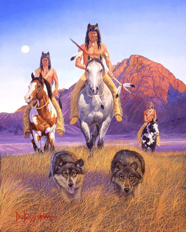 Indian Art Painting - Hunters Of The Full Moon by Howard Dubois